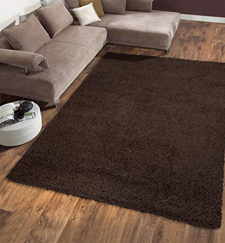 "Ottomanson Soft Cozy Color Solid Shag Area Rug Contemporary Living and Bedroom Soft Shag Area Rug, Brown, 5'3"" L x 7'0"" W"