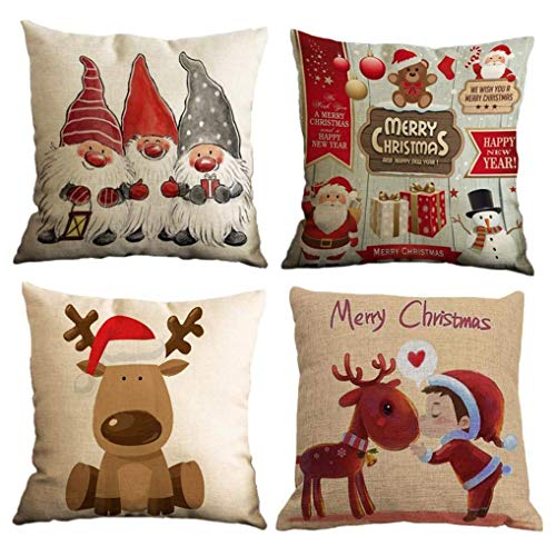 Yidaxing 4 Stuks Kerstmis Kussensloop Katoen Linnen Decoratieve Print Kerstfeest, Claus, Kerstboom, Mooie Jongen Bank Kussensloop voor Thuis Kerstmis Favor(45×45cm)