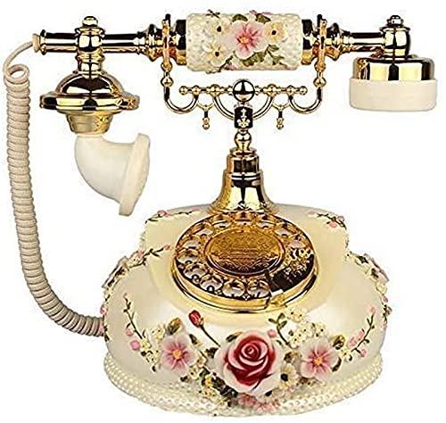 CJDM Teléfono Retro Teléfono Antiguo Teléfono Europeo Teléfono Antiguo con Cable Clásico Hogar Teléfono Fijo Teléfono de marcación giratoria Teléfono de Resina Fijo Retro Decoración del hogar Art