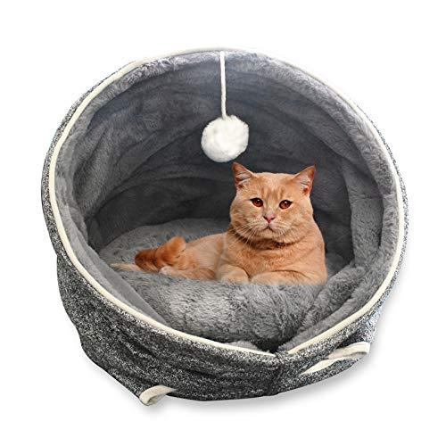 MINCHEDA Letti per Gatti in Peluche Pieghevoli da Interni, Cuccia Gatti Lavabile con Grotta per Animali Domestici Giocattolo, 40 x 40 x 40 cm, Grigio