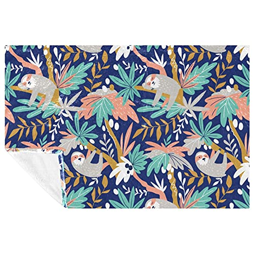 BestIdeas Perezoso en Coco Tree Prints Manta suave cálida y acogedora para cama, sofá, picnic, camping, playa, 150 x 100 cm