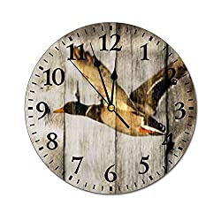 PotteLove 12 Silent Vintage Wooden Round Wall Clock Non Ticking Quartz Battery Operated, Rustic Barn Wood Western Country Flying Wild Duck Large Rustic Chic Style Wooden Round Home Decor Wall Clock