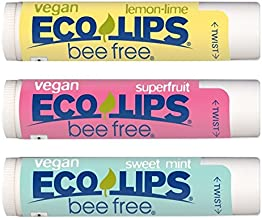 Vegan Lip Balm by Eco Lips Superfruit/Sweet Mint/Lemon Lime 3 Pack Bee Free with Candelilla Wax, Organic Cocoa Butter, Org...