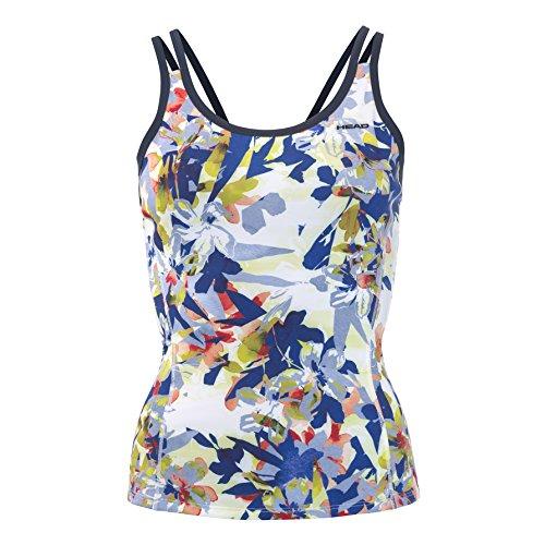 Head Vision Graphic Strap Camiseta de Tirantes, Mujer, Royal Blue/Yellow, Large