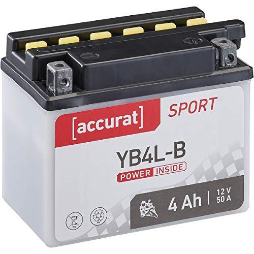 Accurat Motorrad-Batterie YB4L-B 4Ah 50A 12V Standard-Nassbatterie inkl. Säurepack WET Starterbatterie in Erstausrüsterqualität leistungsstark