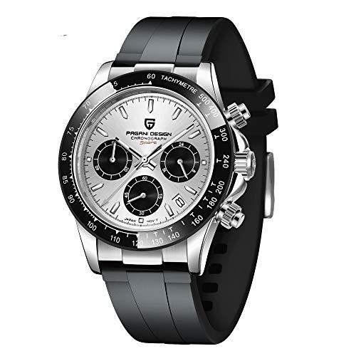 Pagani Design Armbanduhr Chronograph 40mm Taucheruhren Wasserdicht Saphirspiegel Uhren Herren mit Edelstahl Gummi Armband Elegantes Geschenk für Männer