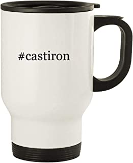 #castiron - 14oz Hashtag Stainless Steel Travel Mug, White