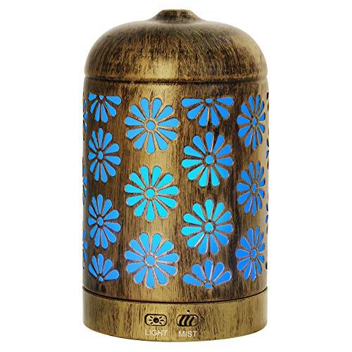 Hianjoo Aroma Diffuser 200ml Luftbefeuchter mit Timer, Ultraschall Aromatherapie Diffusor LED mit 7 Farben für Büro,Yoga,Spa,Schlafzimmer - Helles Holz