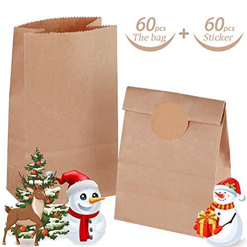 60 Stk Braune Papiertüten, 15 x 27 x 9 cm Papiertüten Geschenktüten, Süßigkeiten Tüten mit 60 Rindsleder Sticker für Geschenk-verpackung Brote Keks verpacken Ostertüten
