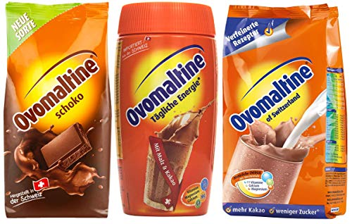 Probierpaket Ovomaltine Getränkepulver 3er Pack, 500g Classic Pulver, 450 g Schokopulver, 500 g Dose Cassic Pulver