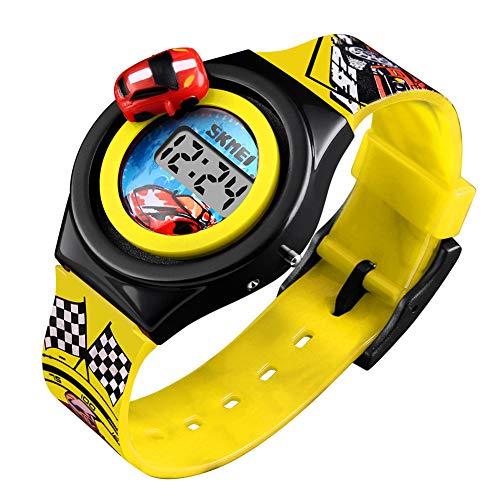 YK WATCH Orologio da Corsa del Giocattolo del Giocattolo della Pista Rotante della Vettura da Corsa Creativa dello Studente dei Nuovi Bambini del Fumetto di Tendenza,Yellow