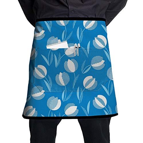 Dingl Blauw Holland Stijl Tulp Bloem Naadloos Patroon 1 Stuk Verstelbare Halflange Schort Pocket Voor Mannen En Vrouwen In Koken, Barbecueren En Bakken