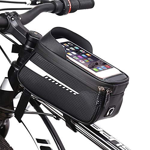 Paquete de la viga Delantera de la Bicicleta Material de Fibra de Carbono Impermeable 1.5L Funda de Tubo Superior de Gran Capacidad Compatible con teléfonos móviles 4-6.5 Pulgadas