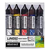 Sennelier Abstract Acrylic Discovery Liner Set, Includes 5-27ml 3D Liners, Primary Colors (10-121350-00)