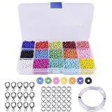 Alrededor de 9000pcs Cuentas de Colores 3 mm Perlas de Vidrio para Hacer Joyas de Pulseras Collares Regalo para Niños