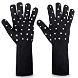 N/X Women BBQ Grilling Gloves Oven Gloves 2 Pack Heat Resistant Long Sleeve Oven Mitts Fireplace...