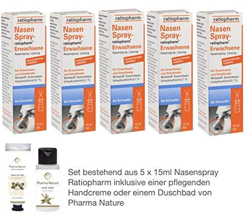 Nasenspray ratiopharm Sparset 5 x 15 ml und einer Handcreme o. Duschbad von Pharma Nature