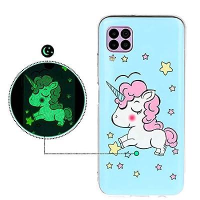 YiKaDa - Funda para Huawei P40 Lite, Carcasa Luminoso Suave Gel TPU Silicona, Funda Anti-Rasguño Anti-Golpes - Unicornio Brillante