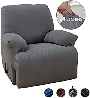 MarCielo One Piece Stretch Recliner Slipcover Stretch Fit Furniture Chair Recliner Lazy Boy Cover Slipcover 1-Piece Couch Cover (Gray)