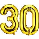 30 Números Globos de 42 Pulgadas Globos Gigantes de Papel de Aluminio 30, Globos Gigantes de 30 Números para Decoraciones de Fiesta del 30 Cumpleaños y Evento del 30 Aniversario (Oro)