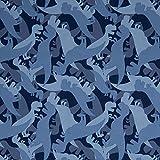 Swafing Softshell DIY Stoff Meterware Dinosaurier/Blau 50 x