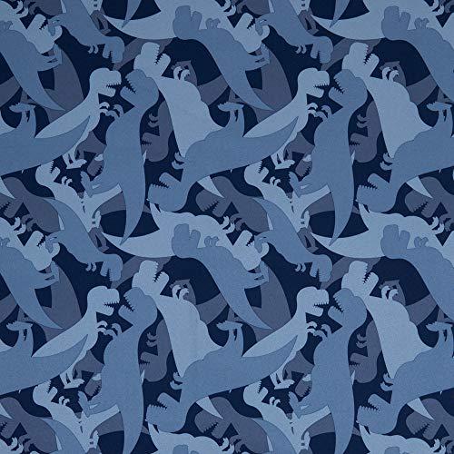 Swafing Softshell DIY Stoff Meterware Dinosaurier/Blau 50 x 140 cm
