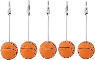 5pcs Basketball Shape Table Number Holder Name Place Card Holder Memo Clip Holder Standr Pictures Card Paper Menu Clip