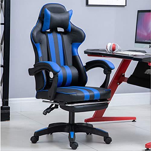 Ficmax Silla ergonómica para juegos Silla para computadora con masaje de soporte lumbar, sillas de juego para E-sports para jugador, silla de oficina con reposapiés y para reposacabezas (negro),Azul