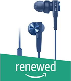(Renewed) Sony Premium MDR-XB55AP in-Ear Extra Bass Headphones with Mic (Blue)