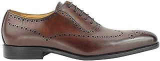 Xposed Hommes Marron réel Cuir Smart Décontracté Vintage Italian Design Oxford Formelle Lacez Chaussures Lacets