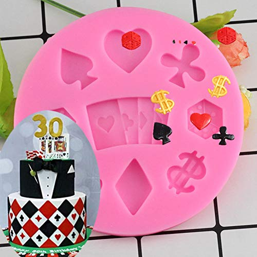 UNIYA Playing Cards Shaped Chocolate Candy Mold 3D Fondant Silicone Moulds Chocolate Cake Decoration Molds Birthday Cake Baking Tools