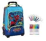 Marvel. Trolley Zaino Spiderman Uomo Ragno + Omaggio portachiave Fischietto + 10 Penne Colorate + segnalibro