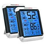 ThermoPro TP55 2 Pieces Digital Hygrometer Indoor Thermometer Humidity Gauge with Jumbo Touchscreen and Backlight Temperature Humidity Monitor