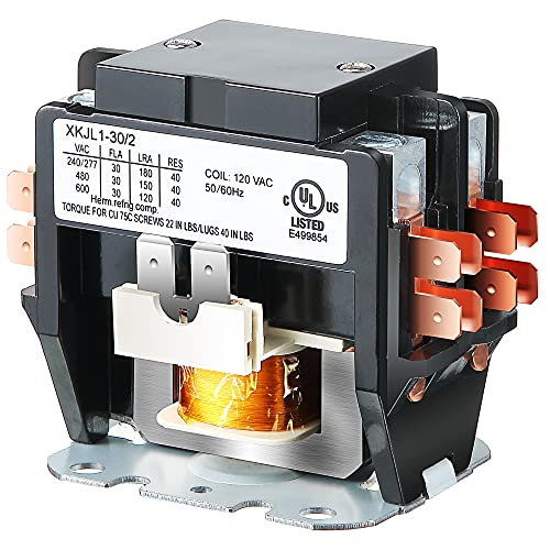 Carrier HVAC Motor Contactor, 120V 30 Amp Coil 2 Pole Replacement Relays Compatible with C230B, Air Conditioner, Heat Pump, Refrigeration Systems