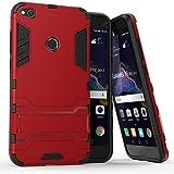 Funda Huawei P8 Lite 2017, MHHQ 2in1 Armadura Combinación A Prueba de Choques Heavy Duty Escudo Cáscara Dura PC + Suave TPU Silicona Rubber Case Cover con soporte para Huawei P8 Lite 2017 -Red