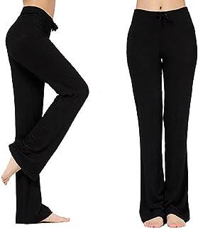 COUSHA Women's Long Modal Comfy Drawstring Trousers Pants Loose Straight-Leg for Yoga Running Sporting