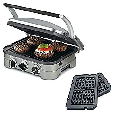 Cuisinart 5-in-1 Grill Griddler Panini Maker Bundle with Waffle Attachment (GR-4N) - Includes Grill and Waffle Plates (Certified Refurbished)