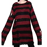 Women Punk Gothic Long Sweater Cool Hollow Out Hole Broken Jumper Loose Tops (Red, One Size)