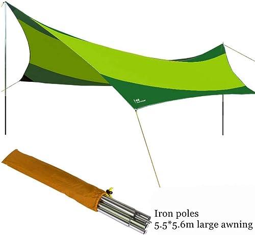 Ashuang Tente de Tente de Camping d'abri de Soleil d'abri de Soleil de Tente de Plage de Polonais de Fer avec Le Tissu Enduit d'argent d'Oxford