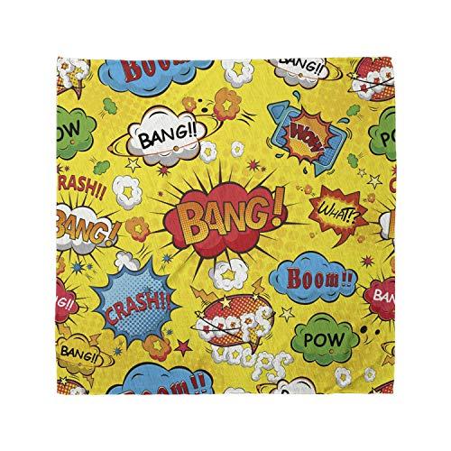 Lunarable Unisex Bandana, Superhero Funky Oops Wow Phrases, Yellow Red