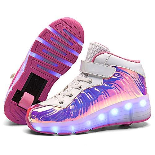 Kinder LED Schuhe mit Rollen Leuchtende Lichter Skateboard Schuhe Outdoor lnline Rollschuhe Mädchen Junge Mode Sneakers,Rosa,40