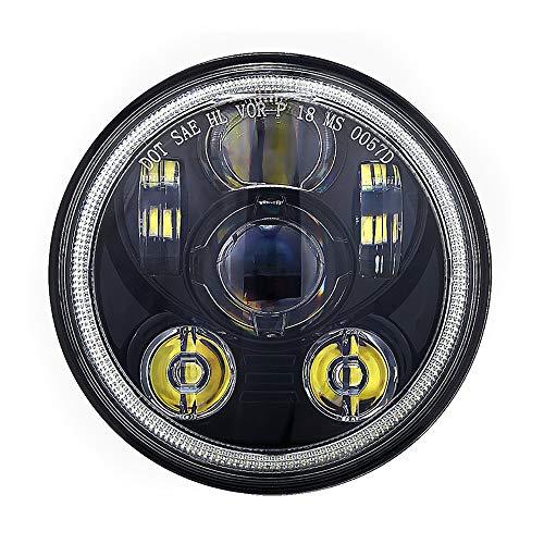 5.75'' LED Projection Phare pour Harley Davidson Sportster Dyna Nightster Wide Glide Street Bob Night Rod etc. 5 3/4 Pouces Rond Lampe Frontale de Moto avec Halo (Noir avec Halo)