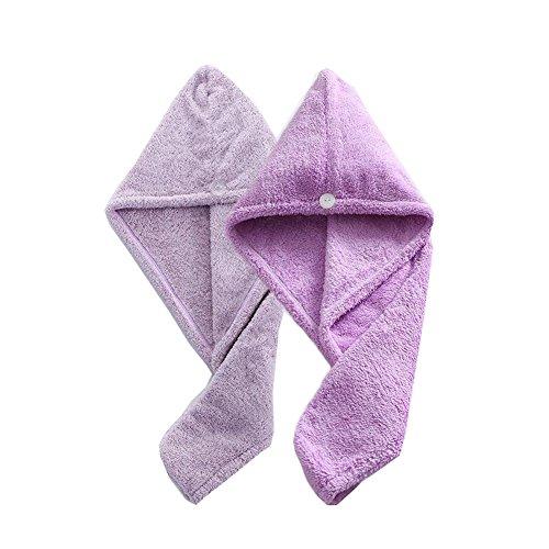 2 Sets Tapis de cheveux secs Super Absorbant Polyester Fibre Douchette de serviette de douche (Taro violet et lavande)