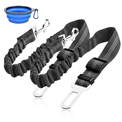 catadog Dog Seat Belt, Upgraded2 Packs Retractable Dog Car Seat Belts Adjustable Heavy Duty & Elastic & Durable Dog Cat Car Harness with Elastic Bungee Buffer for Travel Shock Attenuation(Black)