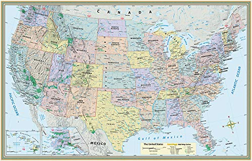 U.S. Map Poster (32 X 50 Inches) - Laminated: A Quickstudy Reference