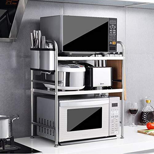NYDZDM 3 Tier 304 Edelstahl Mikrowellenherd, Küchenschrank und Ablagefach, 20.86''x14.17''x27.56 '', Silber