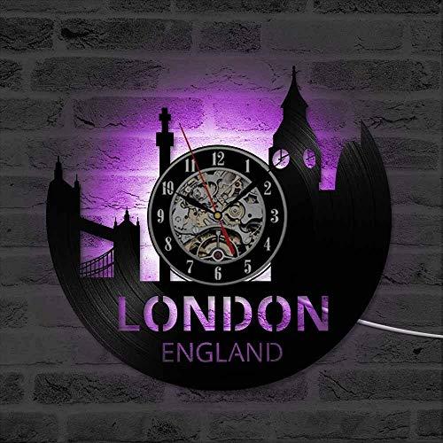 fdgdfgd Classic CD Record London Reloj LED de Vinilo Reloj clásico con Vista a la Ciudad   Diseño de Arte único