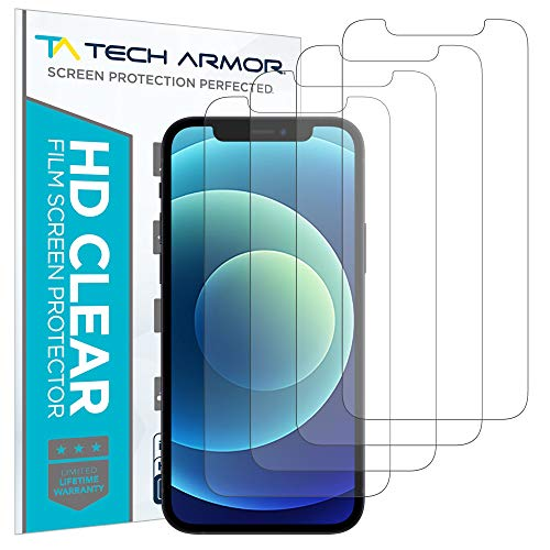 """Tech Armor HD Clear Plastic Film Screen Protector (NOT Glass) for Apple NEW iPhone 12 (6.1"""") and iPhone 12 Pro (6.1"""") - Case-Friendly, Scratch Resistant, Haptic Touch Accurate [4-Pack]"""