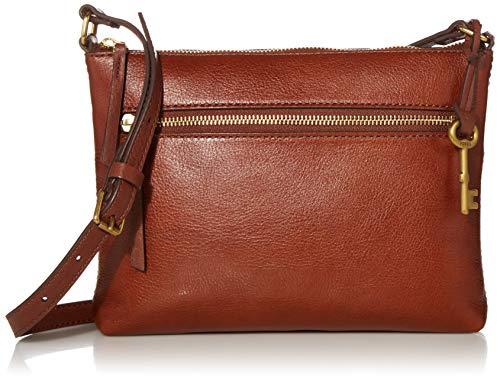 Fossil Women's Fiona Leather Small Crossbody Purse Handbag, Brown