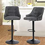 MAISON ARTS Swivel Adjustable Bar Stools with Back Set of 2 for Kitchen Counter Padded Counter Height Faux Leather Bar Chairs with Heavy Duty Base for Pub Cafe Dining, 300LBS Weight Capacity, Grey